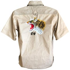 Kansai Yamamoto Khaki Men's Military Shirt with Tiger Embroidery