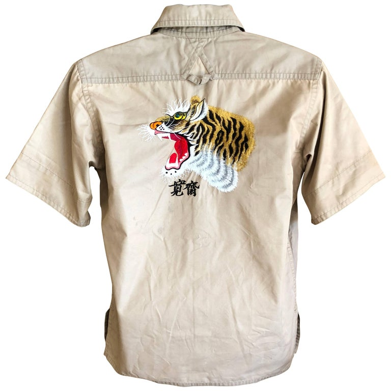 Kansai Yamamoto Khaki Men's Military Shirt with Tiger Embroidery For Sale