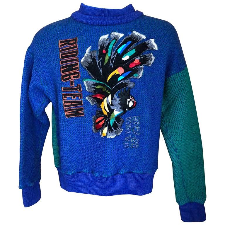Kansai Yamamoto 1980's Men's Sweater with Bird Embellishment