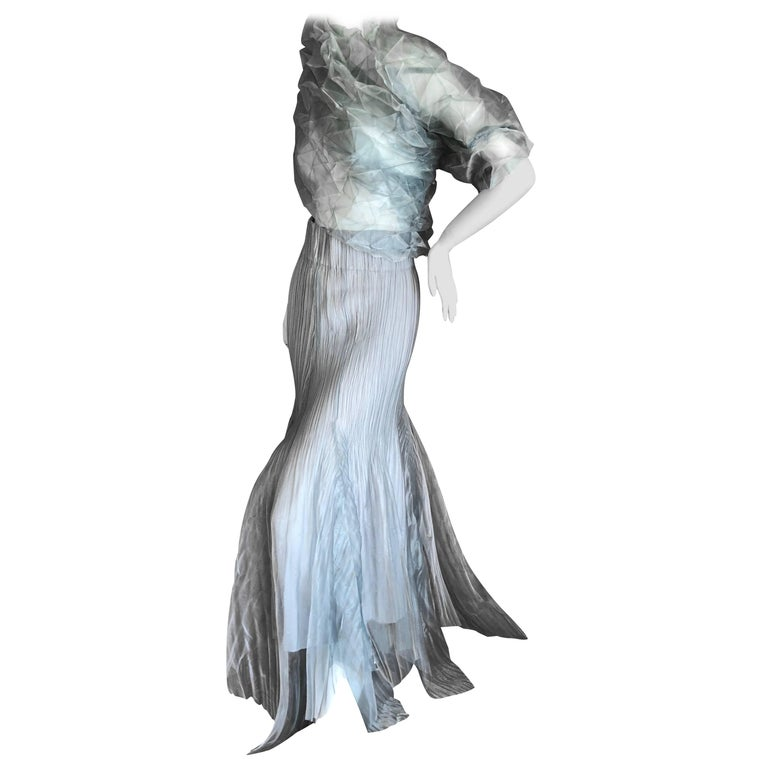 Issey Miyake Fete Vintage Silvery Evening Dress or Skirt w Matching Pyramid Wrap