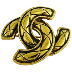 Chanel Vintage Iconic Quilted CC Brooch