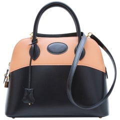 HERMES 'Bolide' Bag in Two-Tone Gold and Black Box Leather