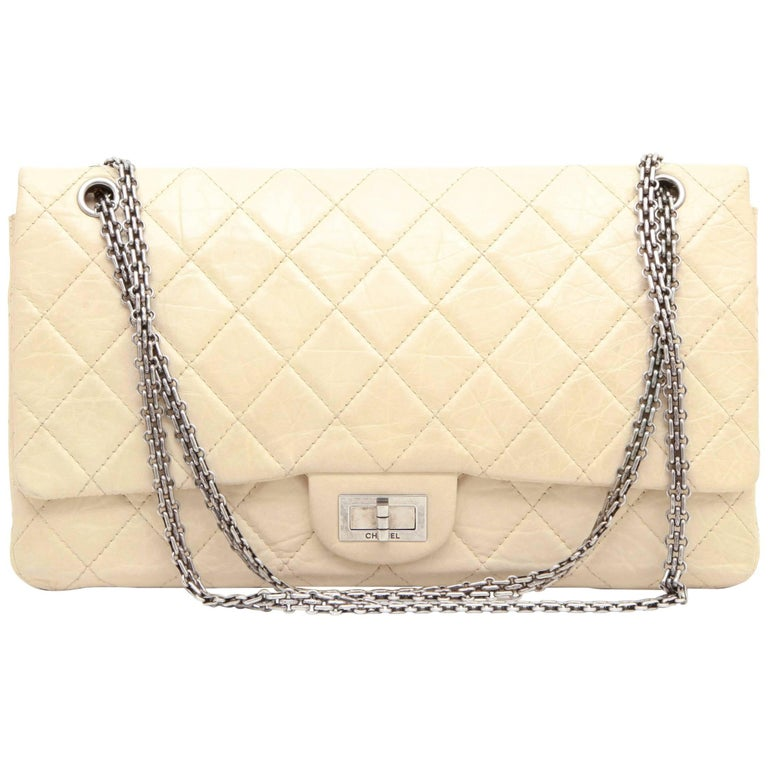 CHANEL 'Maxi Jumbo' Double Flap Bag in Aged Ivory Leather