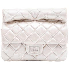 CHANEL Evening Bag in Light Iridescent Silver Lamé Leather