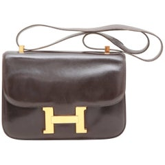 HERMES Vintage 'Constance' Bag in Brown Box Leather
