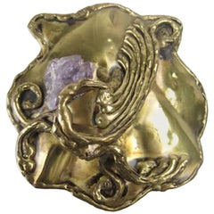 1970's Copa Collection Handmade Belt Buckle with Amethyst