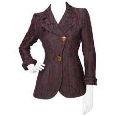Yves Saint Laurent Vintage Rive Gauche Tapestry Paisley Printed Blazer XS