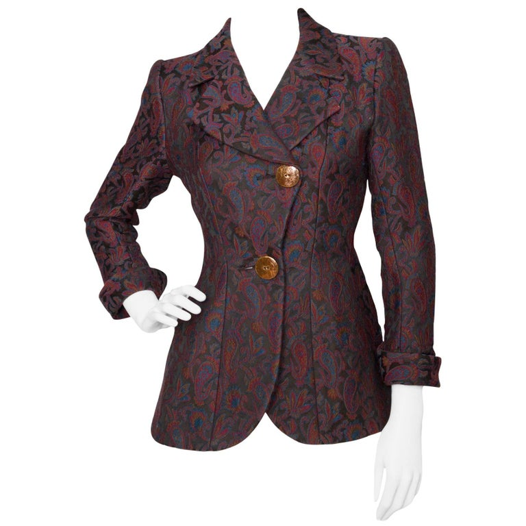 Yves Saint Laurent Vintage Rive Gauche Tapestry Paisley Printed Blazer XS For Sale