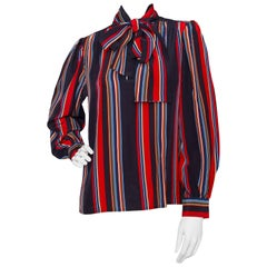 Yves Saint Laurent Vintage Striped Bow Collar Silk Blouse M, 1980s