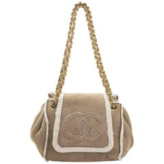 Chanel Beige Shearling Suede CC Small Accordion Bag