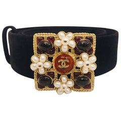 Chanel Suede Belt with Gorgeous Gripoix & Pearl Clusters Buckle