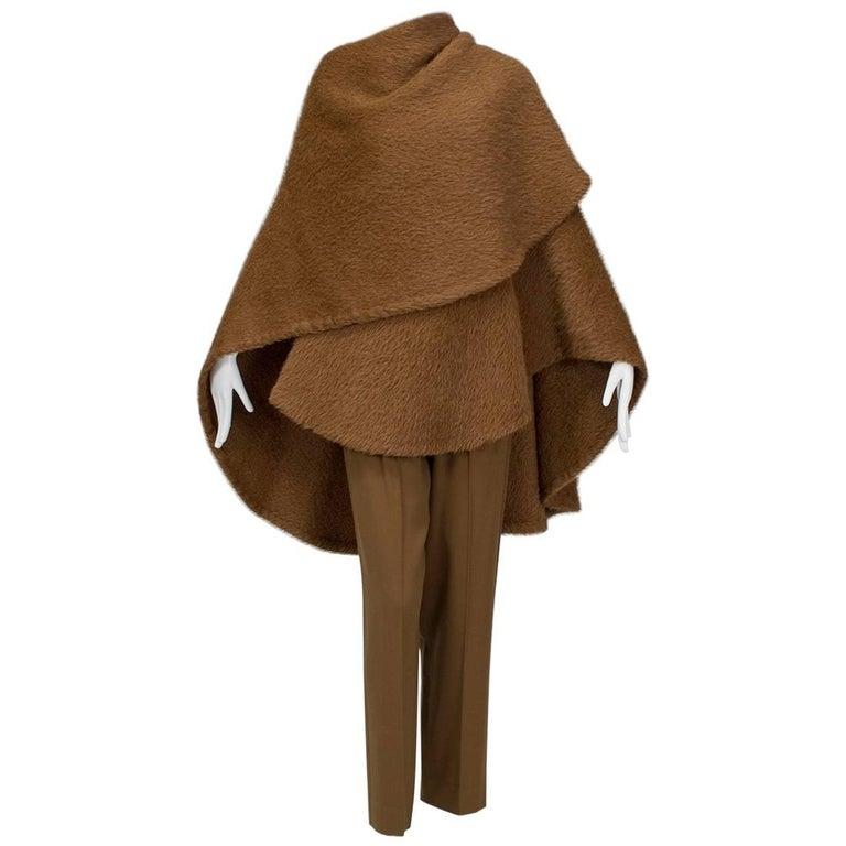 Donna Karan Copper Teddy Bear Alpaca Cape and High Waist Trouser Set- S-M, 1990s For Sale