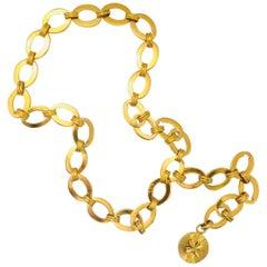Charming Chanel 25 Collection Goldtone Link Belt with Four Leaf Clover Medallion