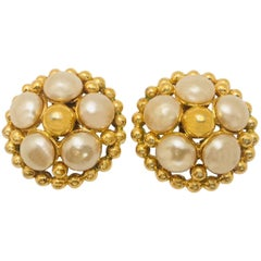 Chic Chanel 25 Collection Goldtone Pearl Earrings Vintage 1980's