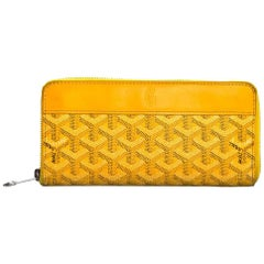 Goyard Yellow Chevron Matignon Zip Around GM Wallet