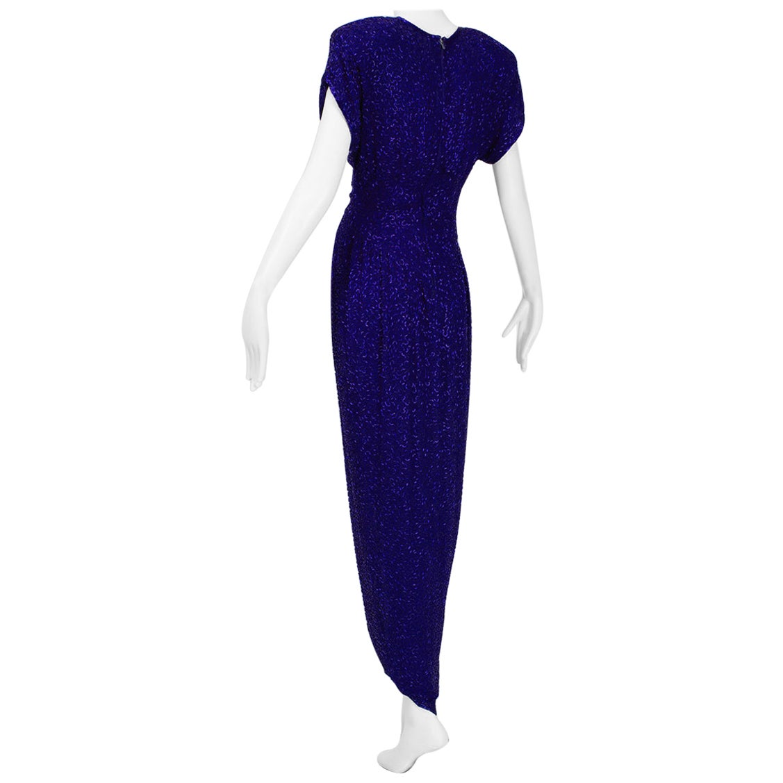 Violet Art Deco Beaded Hobble Gown with Pointed Waterfall Skirt - Small, 1980s