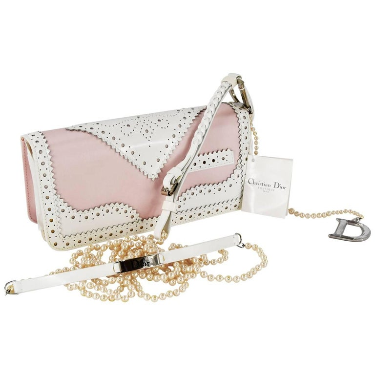 Christian Dior Pink and White Patent D Trick Shoulder Baguette Style Bag  For Sale 5866b82759