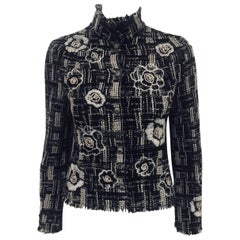 Coveted Chanel Black White and GreyTweed Jacket With Abstract Camellia Appliques