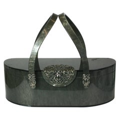Marbleized Gray Bakelite Purse, 1950's