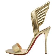 Christian Louboutin Samotresse 100 Nappa Laminata Wings Gold Pumps Size 36.5