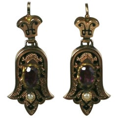 Victorian Enamel and Garnet Earrings