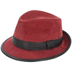 Red & Black Hermes Corduroy Trilby Hat