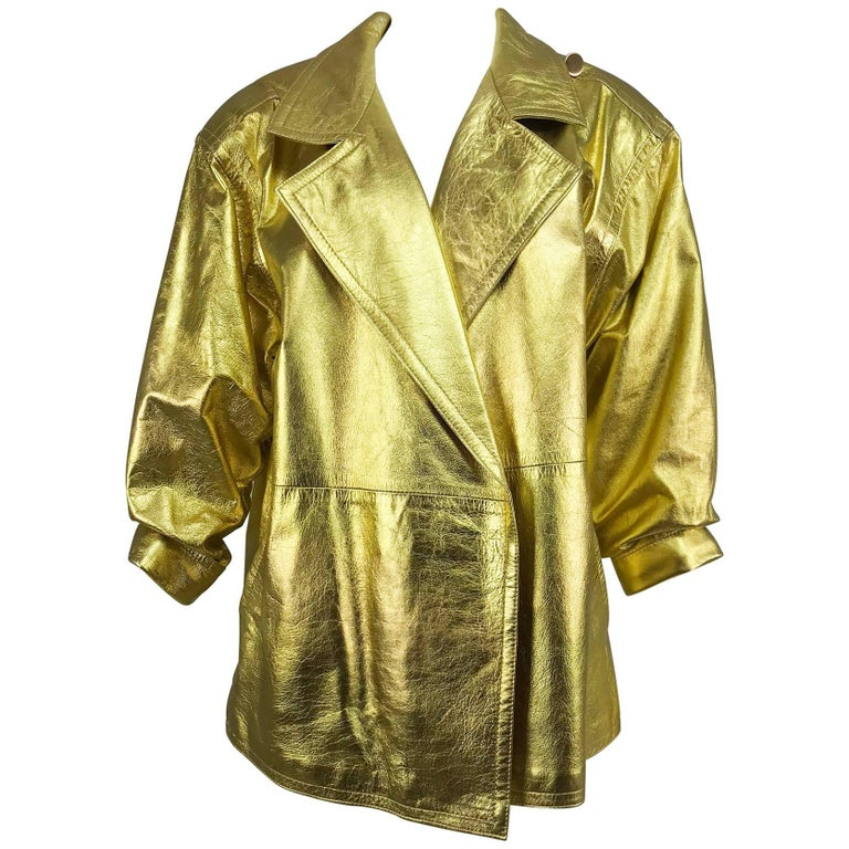 Lillie Rubin gold leather jacket 1980s For Sale