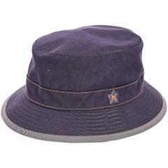 Blue Hermes Denim Bucket Hat
