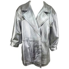 Lillie Rubin silver leather jacket 1980s