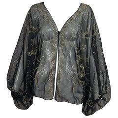 Sheer Black chiffon gold glitter bat wing cocoon top 1970s