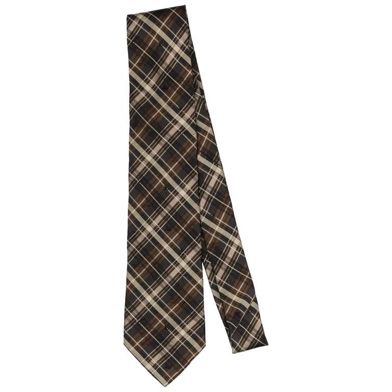 New Louis Vuitton Silk Brown Plaid Tie For Sale
