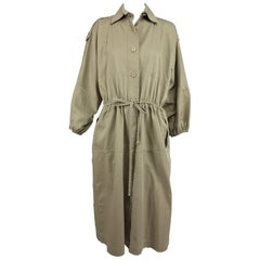 Yves Saint Laurent khaki poplin safari style coat 1970s
