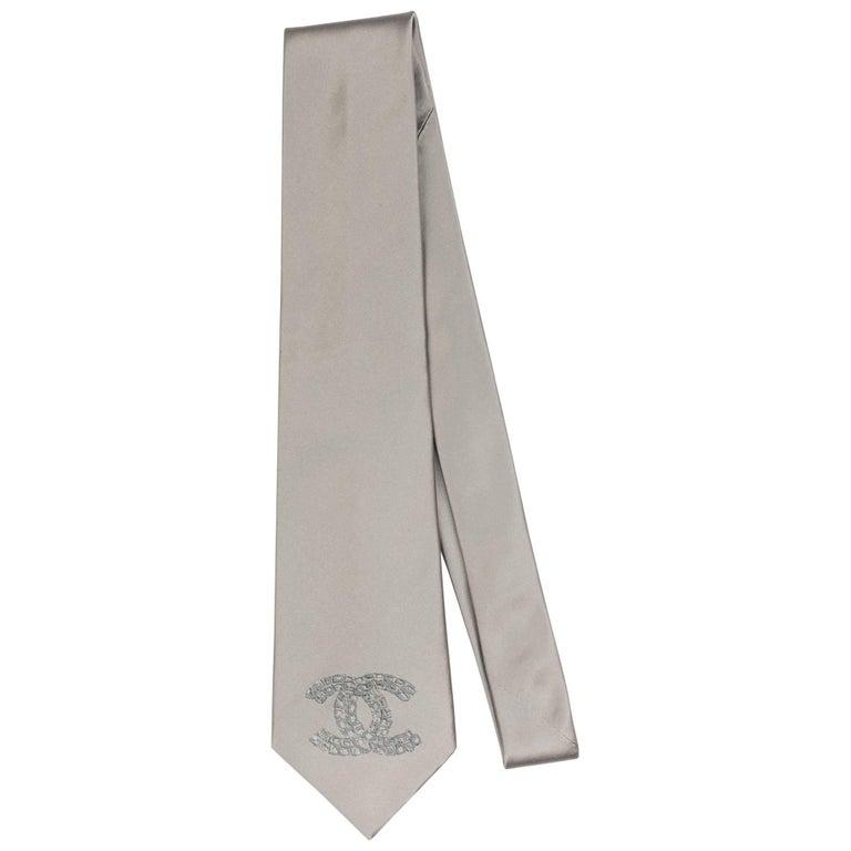 Chanel Silver CC Logo Silk Tie For Sale