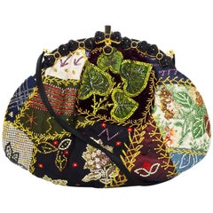Judith Leiber Multicolor Silk & Crystal Embroidered Clutch/Crossbody Bag