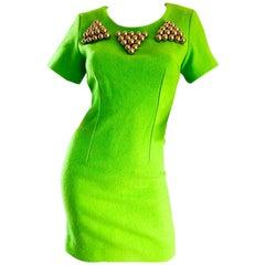 1990s Gianni Versace Neon Lime Green Bodycon Wool Vintage 90s Mini Dress
