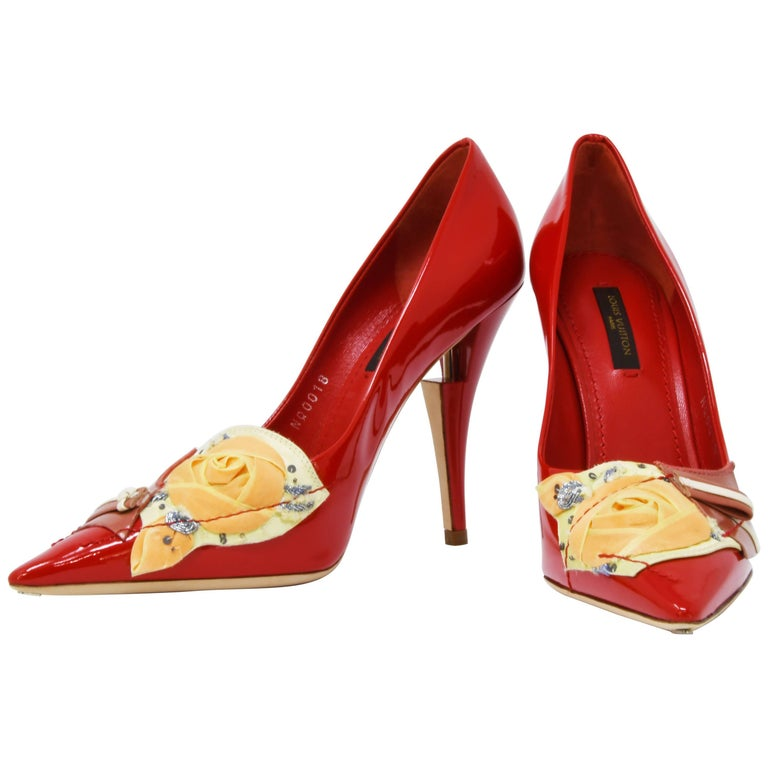 Louis Vuitton French Riviera Red Patent Leather Pumps, Size 37