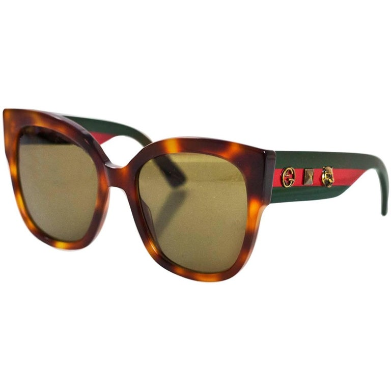 5b4840ee9 Gucci '17 Tortoise Square-Frame Acetate Sunglasses with Studded Web NEW For  Sale