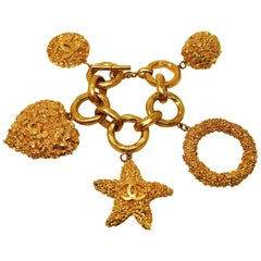 Chanel Vintage Gold Textured Charm Link Bracelet.
