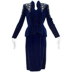 Schiaparelli-Inspired Blue Velvet Bead and Pearl Peplum Suit, 1940s