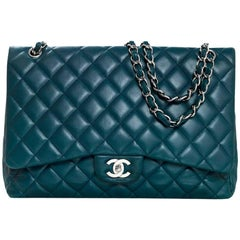 Chanel Teal Quilted Lambskin Leather Single Flap Classic Maxi Bag