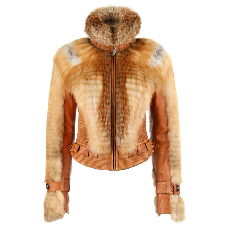 ROBERTO CAVALLI Just Cavalli A/W 2007 Tan Leather Genuine Fox Fur Moto Jacket