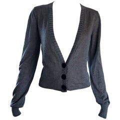 Lanvin Hiver 2006 Charcoal Grey Alpaca + Silk Button Up Cardigan Sweater