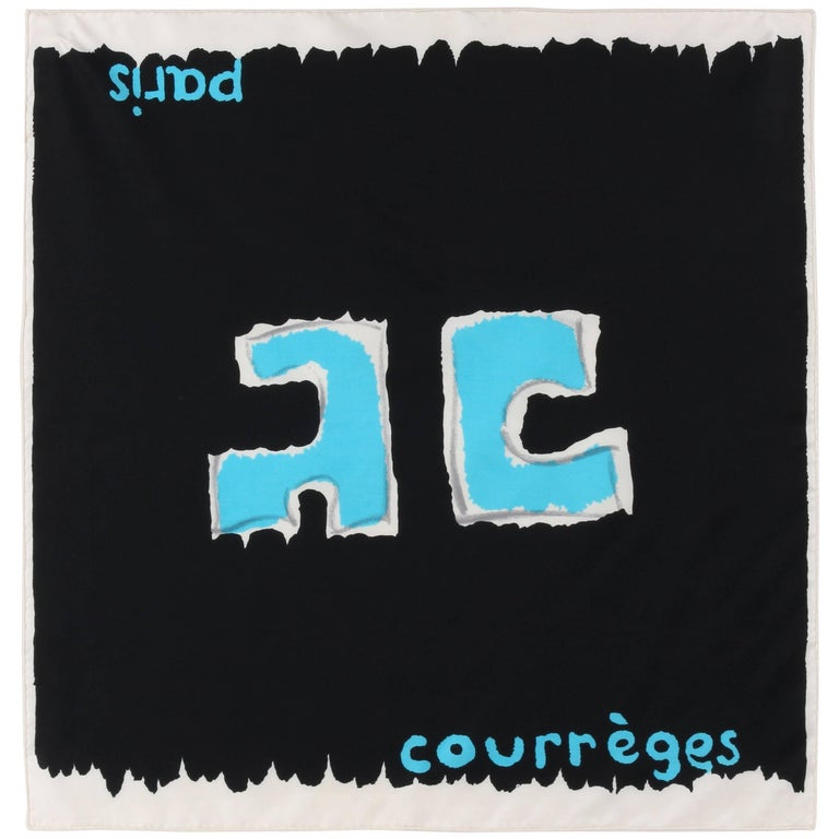 COURREGES c.1960's Black Silk AC Logo Square Scarf Handkerchief