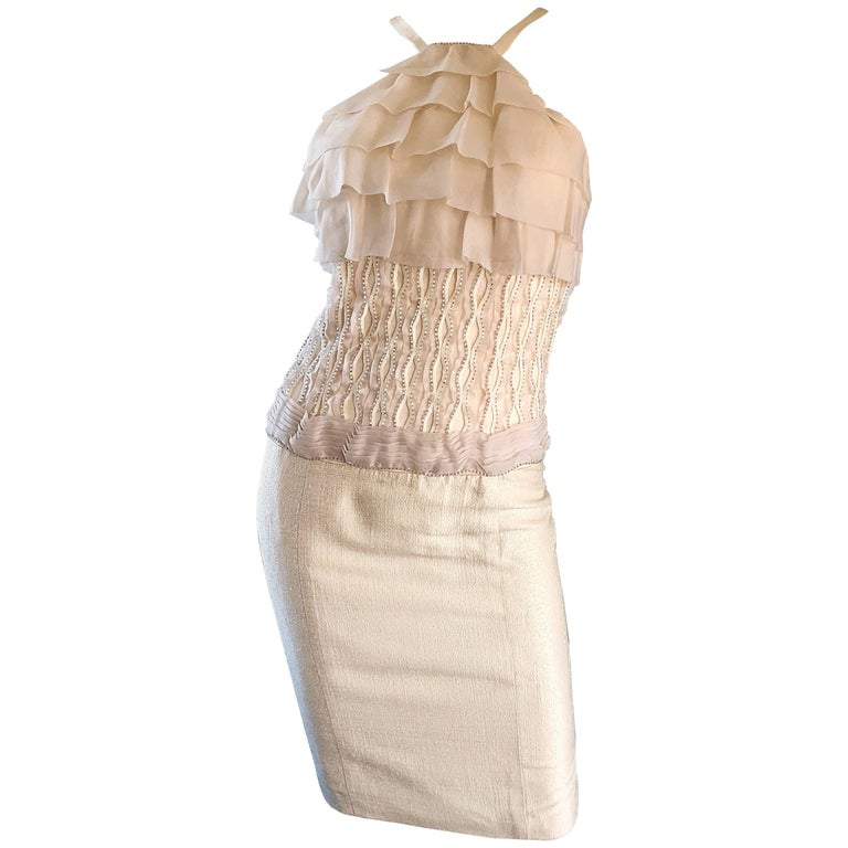 Gustavo Cadile 2000s Off - White Ivory Silk Beaded Ruffle Cocktail Dress