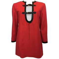 Hermes 1970's Crimson Red Tunic Top with Black Leather Strapping