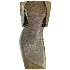 Gorgeous Demi Couture Gold Metallic Cut Out Back Vintage 1950s Wiggle Dress