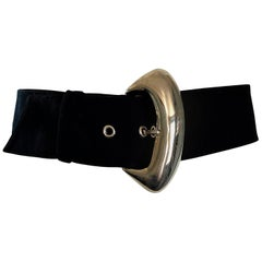 1990s Thierry Mugler Vintage Black and Silver Avant-Garde Wool Belt