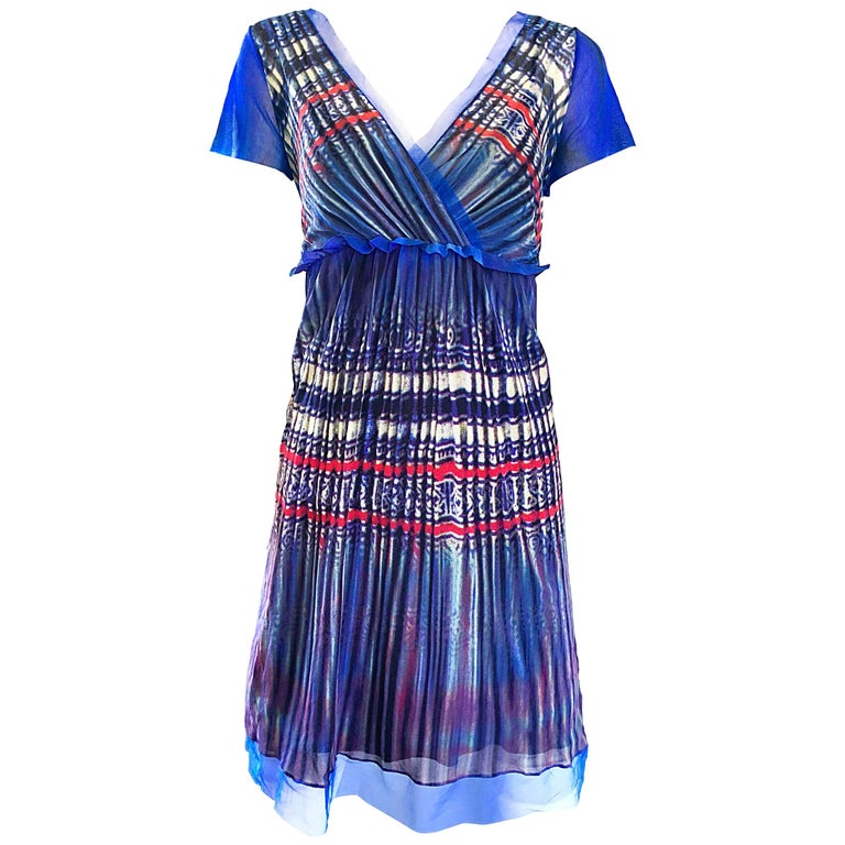 Vivienne Tam 1990s Vintage Blue Multi Colored Semi Sheer Watercolor Print Dress