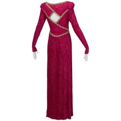 Mary McFadden Numbered Couture Jeweled Keyhole Back Gown, 1980s