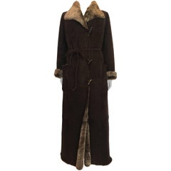 Kenzo Brown Suede Lamb Skin Full Length Coat